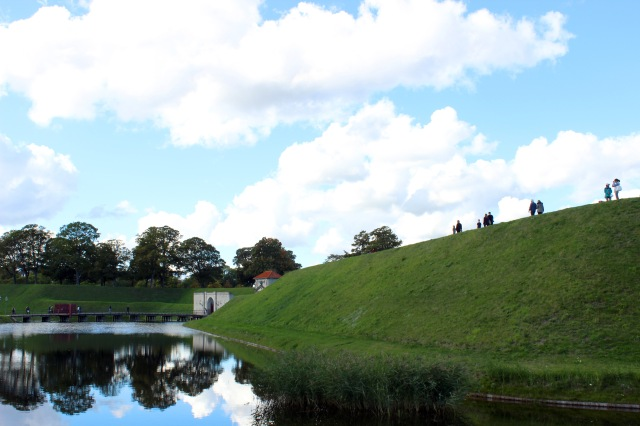 The moat and entrance to Kastellet - the star shaped fortress.