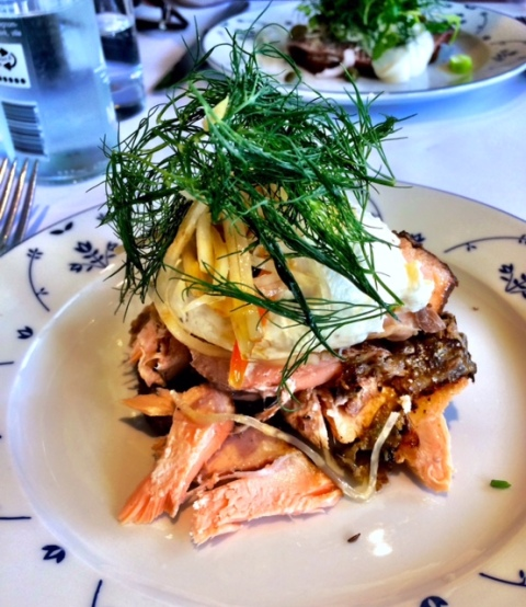 No trip to Denmark is complete without trying smørrebrød (open faced sandwiches). This one is from Restaurant Schønnemann, a wonderful old restaurant that specializes in smørrebrød and schnapps. This one was dark rye bread (Danish rye bread is the best!), warmed smoked salmon, lemon cream, pickles, and something else. It was delicious!